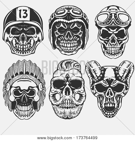 Skull set, Dead Motorcycle rider in helmet. hipster skeleton. vector