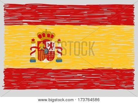 Hand drawn spanish flag. Concept of travel or study spanish