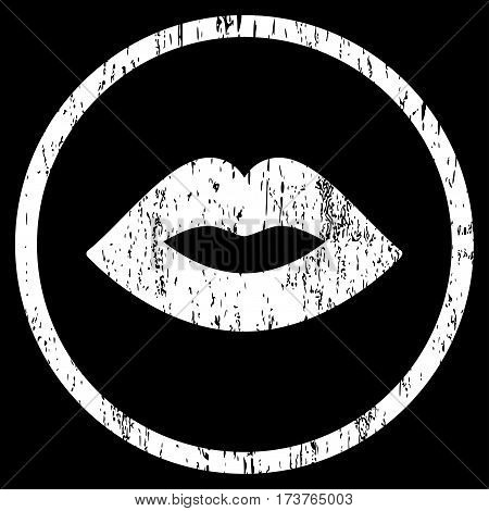 Lips grainy textured icon for overlay watermark stamps. Rounded flat vector symbol with unclean texture. Circled white ink rubber seal stamp with grunge design on a black background.