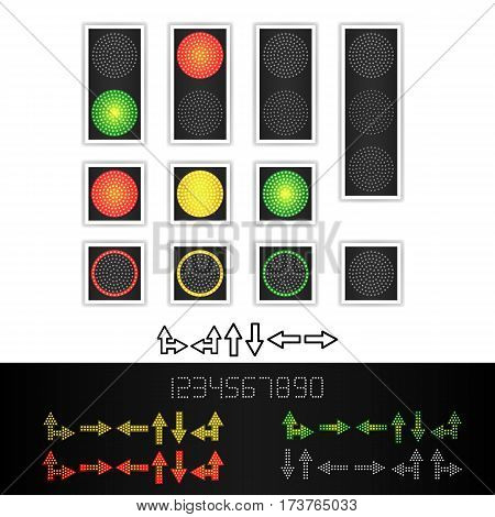 Road Traffic Light Vector. Realistic LED Panel. Sequence Lights Red, Yellow, Green. Time, Turn, Go Wait Stop Signals Isolated On White