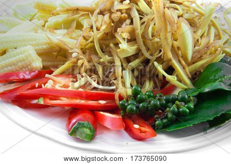 Many spices and herb for make the thai food