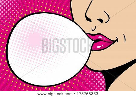 Close-up Female Face. Sexy Pink Lips With Big Gum Speech Bubble. Vector Bright Background In Comic R