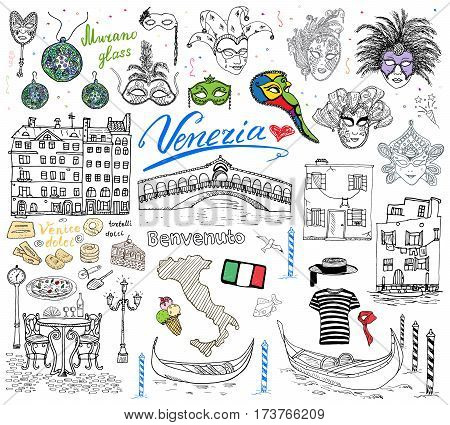 Venice Italy sketch elements. Hand drawn set with flag map gondolas gondolier clouth houses pizza traditional sweets carnival venetian masks market bridge. Drawing doodle collection isolated.