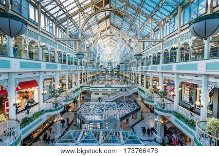 Dublin, Ireland - 26 Feb 2017: Stephen's Green Shopping Centre, Grafton Street, the most prestigious shopping and cultural area of Dublin city centre