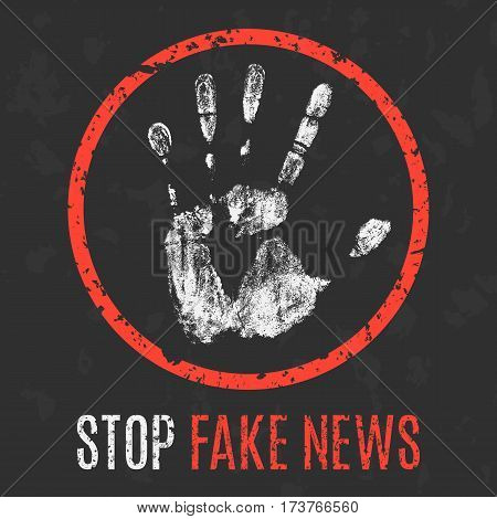 Vector illustration. Social problems of humanity. Stop fake news.