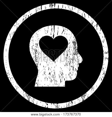 Love In Head grainy textured icon for overlay watermark stamps. Rounded flat vector symbol with scratched texture. Circled white ink rubber seal stamp with grunge design on a black background.