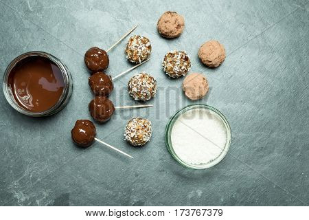 Energy Balls, Melted Chocolate, And Coconut