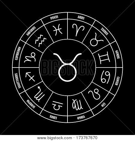 Taurus astrology sing in zodiac circle on the black background set of astrology sings