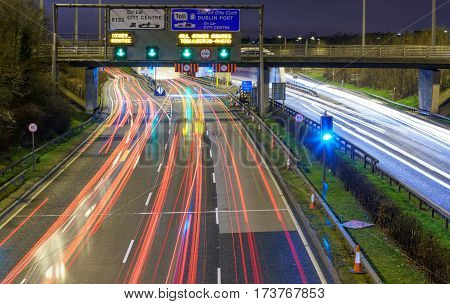 Light trails from headlights and tail lights on the M1 Motorway, Dublin