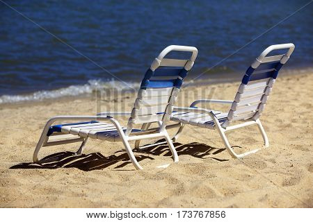 Reclining chairs on the shore of Lake Tahoe