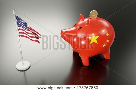 Piggy bank and USA flag. 3D rendering.