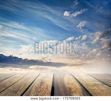 sky and wooden floor, abstract background