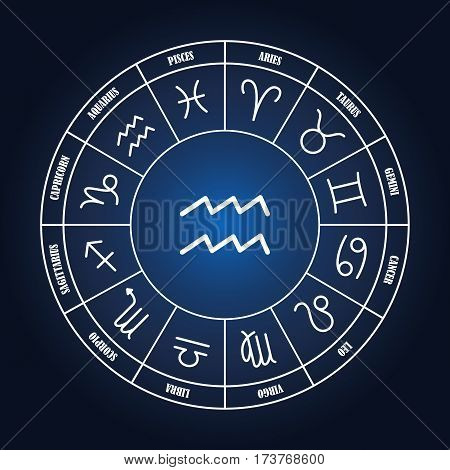 Aquarius astrology sing in zodiac circle on the dark blue background set of astrology sings