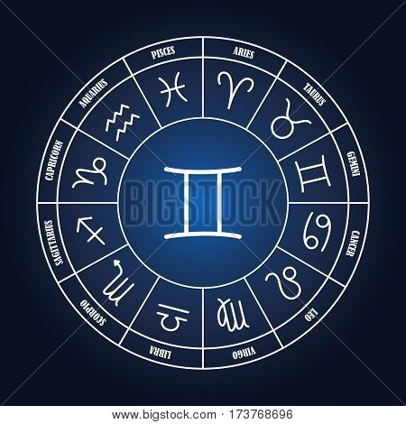 Gemini astrology sing in zodiac circle on the dark blue background set of astrology sings