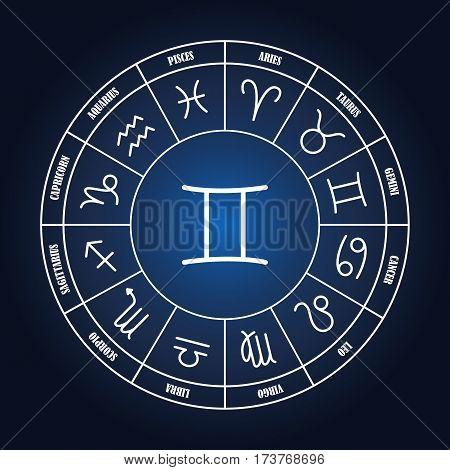Gemini astrology sing in zodiac circle on the dark blue background set of astrology sings
