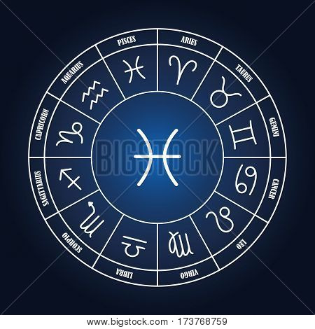 Pisces astrology sing in zodiac circle on the dark blue background set of astrology sings