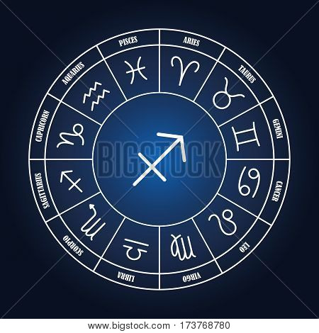 Sagittarius astrology sing in zodiac circle on the dark blue background set of astrology sings