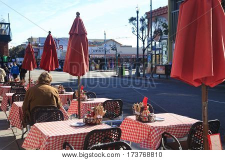 San Francisco USA - October 22 2012: Restaurant outdoors on the waterfront of San Francisco California. USA