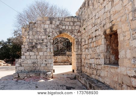 Remains Of Walls And Buildings In The Yehiam Fortress