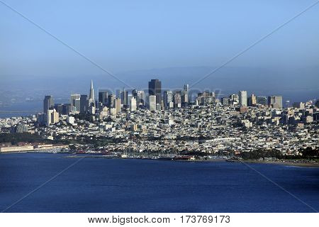 Panorama view of downtown financial district of San Francisco