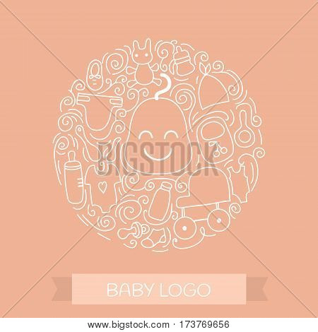 Baby care elements in circle design. Vector Baby logo concept with items for child - pacifier stroller clothing bottle and other . Isolated on white background.