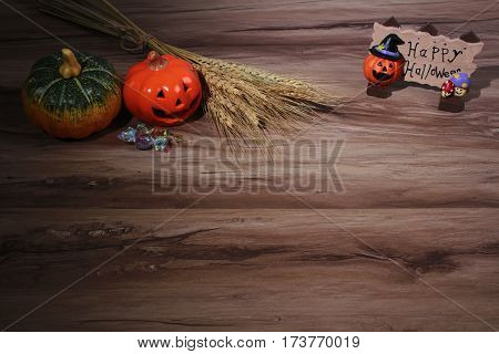 Pumpkin, Helloween  Table Overhead Corner Frame With Empty Space