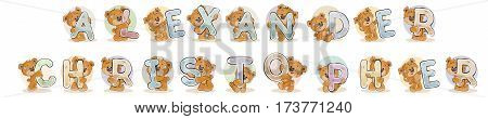Vector illustration lettering type design. Names for boys Alexander, Christopher made decorative letters with teddy bears