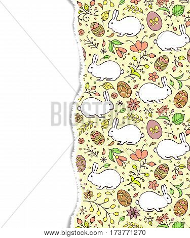 Floral easter pattern with torn paper. Vector illustration.
