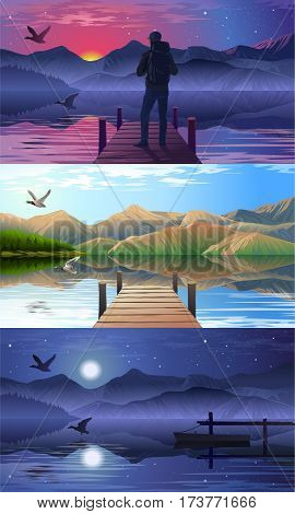 Set vector illustration of a view of the lake and pier at different times of day