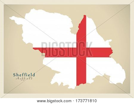 Modern City Map - Sheffield With Flag Of England Illustration