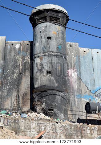 Bethlehem, Palestine. January 6Th 2017 - Aida Refugee Camp In Palestine, Burned Observation Post