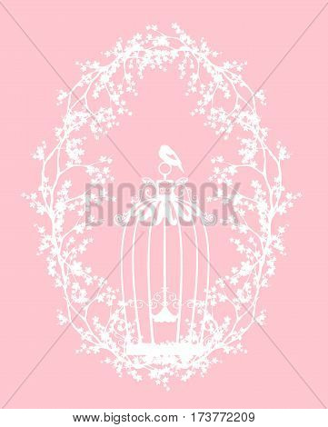 bird cage among spring tree branches - seasonal vector silhouette