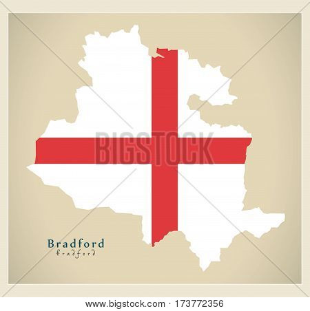 Modern City Map - Bradford With Flag Of England Illustration