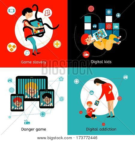 Children and youth internet games addiction danger 4 flat icons square poster mails abstract isolated vector illustration