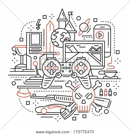 Illustration of vector modern simple line flat design illustration, header with video gaming equpment and tools