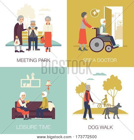 Old age people in different situations design concept 2x2 flat isolated icons set vector illustration