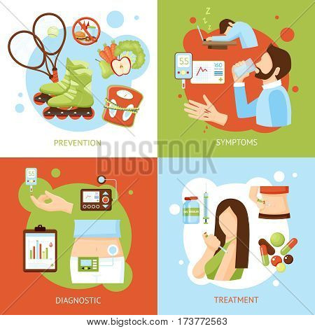 Diabetes medical symptoms diagnostic treatment and prevention concept 4 flat icons square poster abstract isolated vector illustration