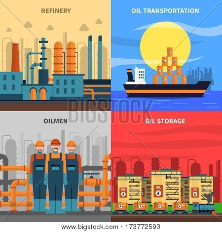 Oil concept icons set with refinery transportation and storage symbols flat isolated vector illustration