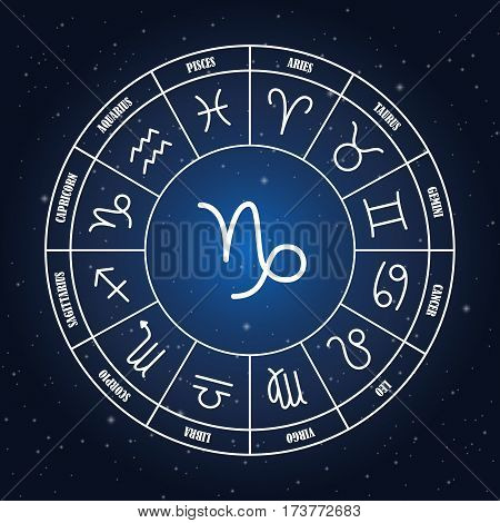Capricorn astrology sing in zodiac circle on the background of starry sky set of astrology sings