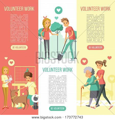 Volunteers work vertical banners set with saving nature help animals and elderly people flat icons vector illustration