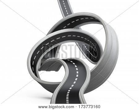 Asphalt road tied in a knot over white background. 3d illustration.