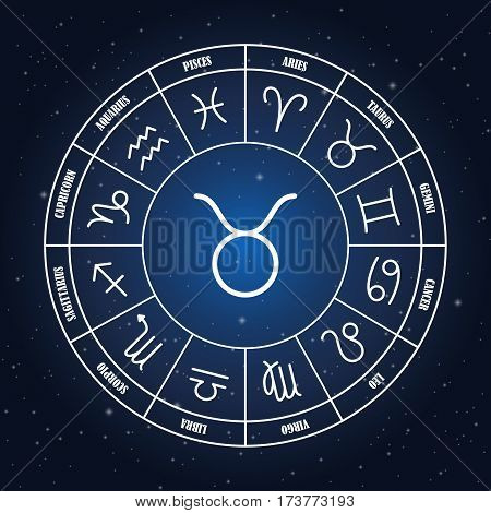 Taurus astrology sing in zodiac circle on the background of starry sky set of astrology sings