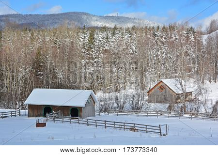 BROMONT QUEBEC CANADA 02 02 2017: Winter landscape old farm in country side of Bromont it is in the Brome-Missisquoi Regional County Municipality