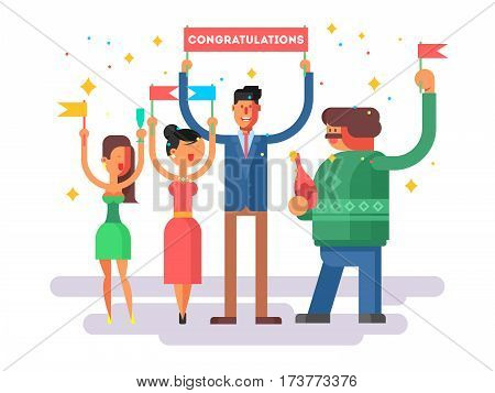 Congratulations group people. Happy woman man, cheerful congratulate vector illustration