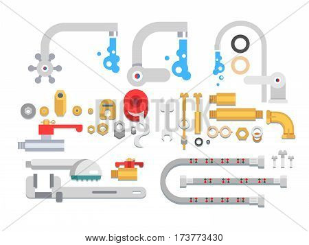 Set plumbing parts. Tube and pipe for water, metal construction, vector illustration