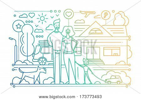Family life - vector modern simple line flat design city composition with a happy family - color gradient