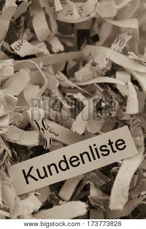 shredded paper keywords customer list in german