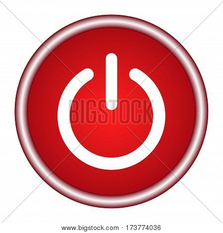 On/Off switch . Red round icon. Vector illustration.
