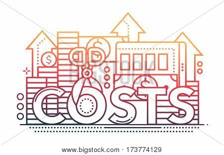 Reduce Costs - vector modern line flat design illustration with coin stacks, dollar bills, scissors cutting the word Costs - color gradient