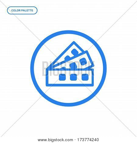 Vector illustration of outline color palette icon. Graphic design concept of designer tool. Use in Web Project and Applications. Blue outline isolated object.